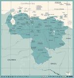 Mapa de Venezuela - ejemplo detallado del vector del vintage Fotografía de archivo libre de regalías