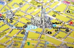 Mapa de Viena, Áustria Imagens de Stock Royalty Free