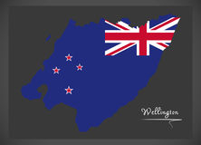 Mapa de Wellington New Zealand com bandeira nacional ilustração stock
