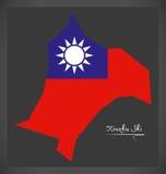 Mapa de Xinzhu Shi Taiwan com ilustração taiwanesa da bandeira nacional Fotografia de Stock