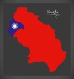Mapa de Xinzhu Taiwan com ilustração taiwanesa da bandeira nacional Fotos de Stock