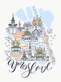 Mapa de Yaroslavl Doddle ilustração stock