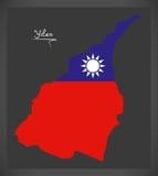 Mapa de Yilan Taiwan com ilustração taiwanesa da bandeira nacional Imagens de Stock