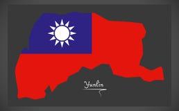 Mapa de Yunlin Taiwan com ilustração taiwanesa da bandeira nacional Foto de Stock