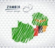 Mapa de Zambia con el mapa dibujado mano de la pluma del bosquejo dentro Ilustración del vector