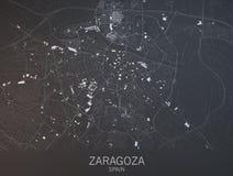 Mapa de Zaragoza, Saragossa, Espanha Imagens de Stock Royalty Free