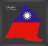 Mapa de Zhanghua Taiwan com ilustração taiwanesa da bandeira nacional Foto de Stock