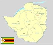 Mapa de Zimbabwe Fotos de archivo libres de regalías