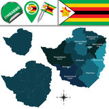 Mapa de Zimbabwe con Provinces nombrada Imagen de archivo