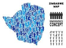 Mapa de Zimbabwe del Demographics libre illustration