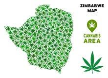 Mapa de Zimbabwe del mosaico de la marijuana del vector stock de ilustración