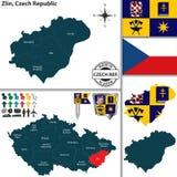 Mapa de Zlin, República Checa Fotografia de Stock Royalty Free