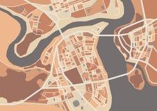 Mapa decorativo da cidade do vetor Fotos de Stock Royalty Free