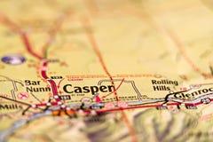 Mapa del área de Casper Wyoming los E.E.U.U. Imagen de archivo libre de regalías