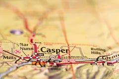 Mapa del área de Casper Wyoming los E.E.U.U. Imagen de archivo