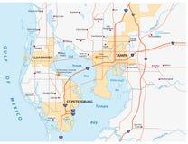 Mapa del área de Tampa Bay fotografía de archivo