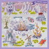 Mapa del advernture de la fantasía para la cartografía con el ejemplo colorido del drenaje de la mano del garabato del valle del  stock de ilustración