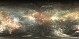 Mapa del ambiente 360 HDRI de la realidad virtual Proyección equirectangular del espacio, panorama esférico Nebulosa del espacio  stock de ilustración