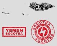 Mapa del archipiélago del Socotra del mosaico y copos de nieve eléctricos y sellos texturizados del sello libre illustration
