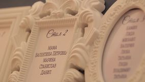 Mapa del asiento de la huésped en el restaurante antes de la recepción y del banquete Nombres de huéspedes en el caballete marino almacen de metraje de vídeo