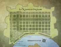 Mapa del barrio francés de New Orleans Imágenes de archivo libres de regalías