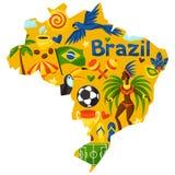 Mapa del Brasil con los objetos estilizados y cultural Fotografía de archivo libre de regalías