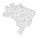Mapa del Brasil de las líneas negras poligonales, puntos del ejemplo libre illustration