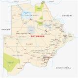 Mapa del camino de Botswana, administrativo y político ilustración del vector
