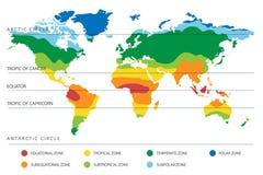 Mapa del clima del mundo con zonas de temperatura stock de ilustración