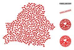 Mapa del collage del amor de Bielorrusia y de los sellos del Grunge para las tarjetas del día de San Valentín libre illustration