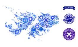 Mapa del collage de Falkland Islands con las ruedas de engranaje y los sellos de goma para el servicio stock de ilustración