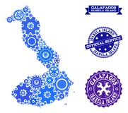 Mapa del collage de las Islas Galápagos - Isabela Island con los engranajes y los sellos del Grunge para el servicio libre illustration