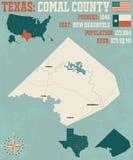 Mapa del condado de Comal en Tejas libre illustration