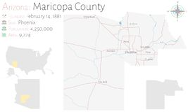 Mapa del condado de Maricopa en Arizona libre illustration
