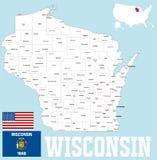 Mapa del condado de Wisconsin libre illustration