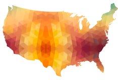 Mapa del continente de los E.E.U.U. del estilo poligonal Foto de archivo libre de regalías