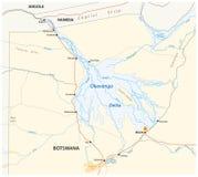 Mapa del delta de Okavango ilustración del vector