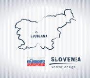 Mapa del dibujo de tiza del vector de Eslovenia aislado en un fondo blanco Foto de archivo