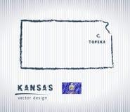 Mapa del dibujo de tiza del vector de Kansas aislado en un fondo blanco libre illustration