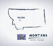 Mapa del dibujo de tiza del vector de Montana aislado en un fondo blanco Fotos de archivo