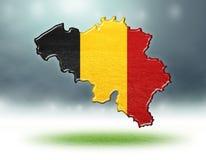 Mapa del diseño de Bélgica con la textura de la hierba de campos de fútbol stock de ilustración
