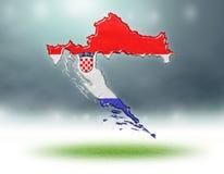 Mapa del diseño de Croacia con la textura de la hierba de campos de fútbol ilustración del vector