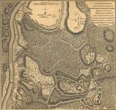Mapa del ejército de Burgoyne, Bemis Hieghts, Saratoga, 1777 Imagen de archivo libre de regalías