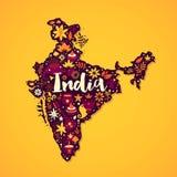 Mapa del ejemplo de la India con los elementos abstractos y nacionales Se puede utilizar para la publicidad el viajar Foto de archivo