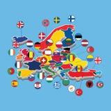 Mapa del ejemplo isom?trico occidental del vector de la bandera de Europa stock de ilustración