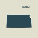 Mapa del esquema de Kansas Ilustración Foto de archivo
