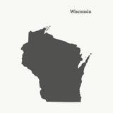 Mapa del esquema de Wisconsin Ilustración Foto de archivo libre de regalías
