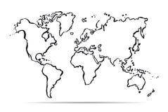Mapa del esquema del mundo Ilustración del vector libre illustration