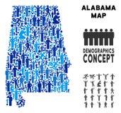 Mapa del estado de Alabama del Demographics ilustración del vector
