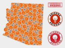 Mapa del estado de Arizona del collage de la bombilla y sellos texturizados del sello stock de ilustración